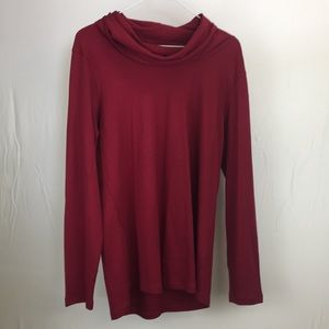 L.L. Bean Large Red Long Sleeve Cowl Neck Shirt